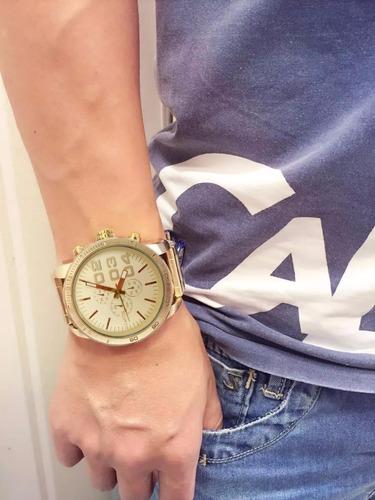 7f56ae515cd Relógio Masculino Atlantis Original Homem Grande Dourado Aço