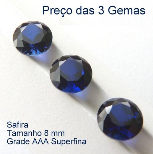 091df36ff35 Safira Azul Pedra Preciosa Safira 8 Mm Preço De 3 Gemas 3046