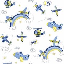 Papel De Parede Infantil Meninos Aviões Azul