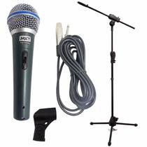 Microfone Profissional Bt58 + Pedestal Ibox +cachimbo + Cabo