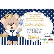 Arte Digital Convite Ursinho Príncipe Chá Ou Aniversario à Venda Em