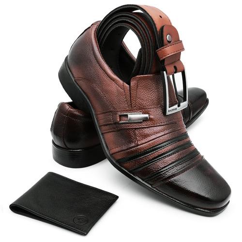f69647002 Sapato Masculino Social Casual Kit Carteira Cinto Couro Luxo