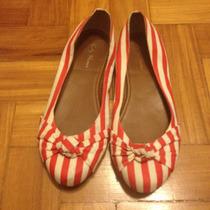 Sapatilha Vermelha E Branca Listrada City Shoes - Seminova