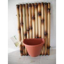 Cachepo Painel Em Bambu Tratado Vaso Decoração Quadro Flores