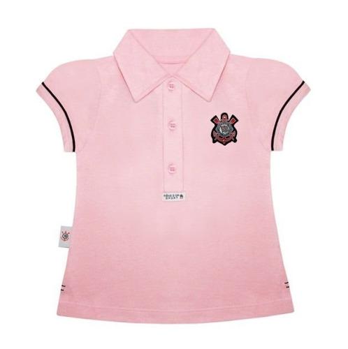 35a30d32d9d7e Camisa Do Corinthians Infantil Polo Oficial Menina. R  68.03