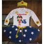 Fantasia Tutu Infantil Mulher Maravilha Pers. De 1a8 Anos
