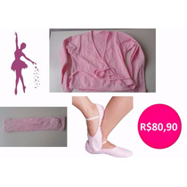 Roupa De Ballet Infantil - Kit Inverno Com 03 Peças - Rosa