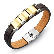 Pulseira Masculina Bracelete Couro + Aço Inox Banho Ouro 18k