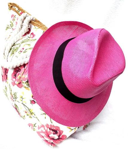 7bed974622d1e Chapéu Praia Rosa Feminino Panamá Aba Média Tipo Palha