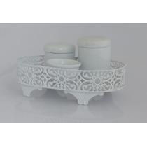 Kit Higiene Branco Porcelana Cesta Ferro Vazada Bebê