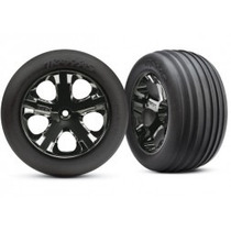Trax 3771a Roda Dianteira Para Rustler Cromada Black