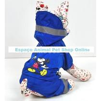 Capa Chuva P/ Cães Gatos Mickey Forrada Linda Demais L