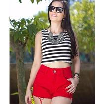 Shorts Jeans Feminino Cor Vermelho Destroyed Hot Pant Barato