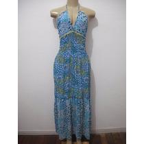 Vestido Longo Azul Florido Tam P Usado Bom Estado