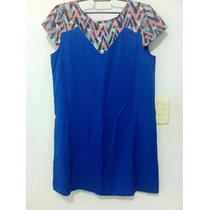 Lindo Vestido Azul Tam M 100% Viscose