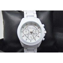 Relógio Feminino Branco Com Pedras Strass Analógico Barato