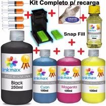 Kit Tinta Recarga Cartucho Hp + Snap 662 122 901 74 60 Xl