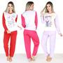 Kit 4 Pijamas Longo Fechado Feminino Comprido Inverno 010