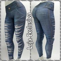 Calça Legging Rasgada Jeans Academia