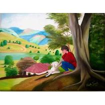 Pintura A Óleo Sobre Tela - 60 X 80 Cm - A Menina E O Cão