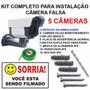 Kit 5 Cameras Falsa Com Led Fake C/ Itens Para Instalação