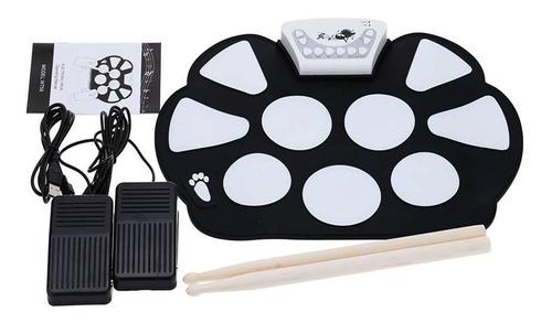 Bateria Eletrônica Musical Drum Dobrável Silicone 2 Pedais