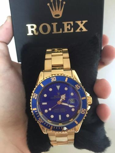 5831ea4ce01 Relógio Masculino Dourado Gold Blue Sub-mariner