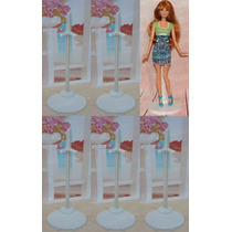 Lote Com 5 Suportes Branco Para Barbie * Ken * Monster High