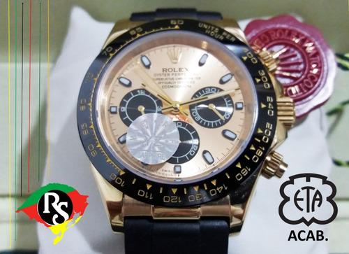 ec7841ff1e0 Relogio Novo Daytona Dourado Ceramica Safira Borracha Lxrs - R  749 ...