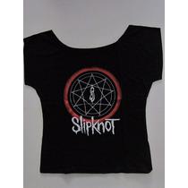 Blusinha Bata Cropped Slipknot - Disasterpieces - Power Rock