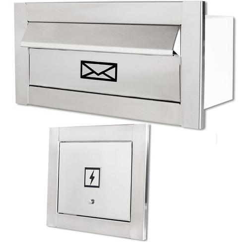 Caixa De Correio Frente Inox Carta Escovado + Visor Luz