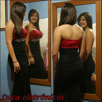 Vestido Longo Preto Com Vermelho Festas 15 Anos, Formaturas
