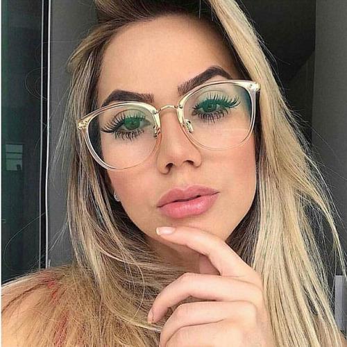 75165b81d Óculos Armação Quadrada Gatinho Transparente Moda Nerd Lindo