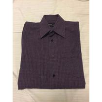 Camisa Social Akkar Soft Fio 50 Roxa Preta Tam 1 Pp Masc