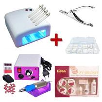 Cabine Uv 36w 220v + Lixa Pedal + Kit Gel + Alicate + Unha
