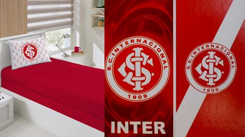 c981674a4e Jg Cama Solt + 02 Toalhas Banho Futebol Inter Oficial. R  219