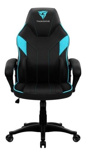 Cadeira De Escritório Thunderx3 Ec1 Jogador Ergonômica Preta E Ciano