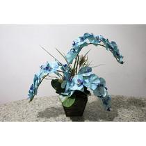 Arranjo Belíssimo Orquídeas Azuis - Vaso Madeira Com Couro
