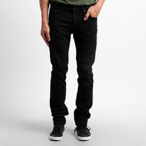 Calça Jeans Sarja Preta Branca Black Slin Fit Lycra Stretch