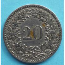 Suiça: Bela Moeda 20 Cents 1881 Mbc/s Antiga