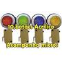 Kit 10 Botoes Acrilicos 4 Botoes Retangulares Brancos Led