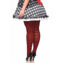 Meia-calça Listrada Vermelho E Preto Leg Avenue Gg Plus Size