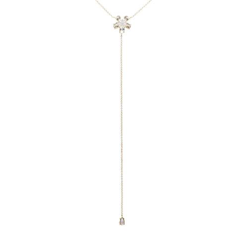 134dd23f763 Gargantilha Ouro 18k Gravata Com Flor De Topázio Branco - 12