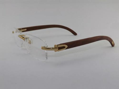 f895dfd5f66e5 Armação Óculos De Grau Sem Aro Cartier Dourado Madeira