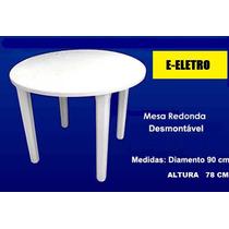 Mesa De Plastico Redonda Desmontável Cor Branco 90 Cm