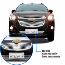 Kit Sobre Grade Cromo Aço Inox Filetada Chevrolet Spin