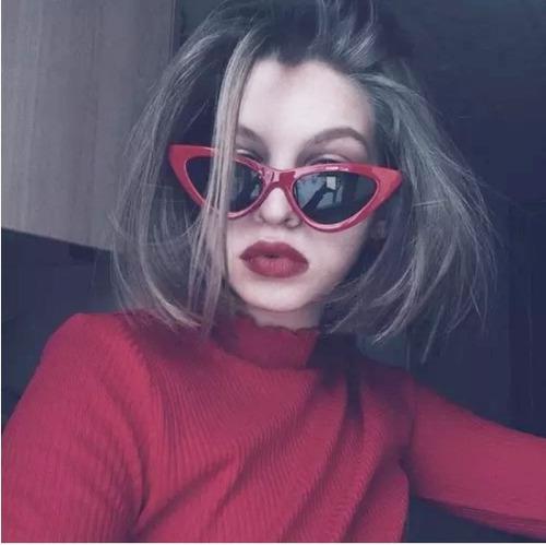 Óculos Escuro De Sol Gatinho Cat Eye Retrô Vintage Moda 2018 ee7b7cc335