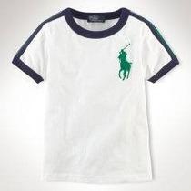 Ralph Lauren - Camiseta Branca E Navy Infantil