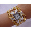 Luxuoso Relógio Quartz, Dourado C/ Branco. Leilão De 1,00