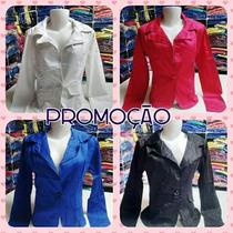 Blazer Coloridos Femininos Kit C/ 15 Pçs
